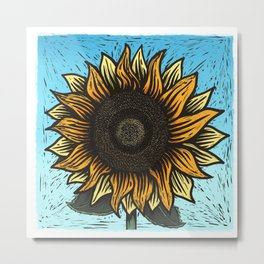 Here Comes The Sunflower Woodcut Metal Print