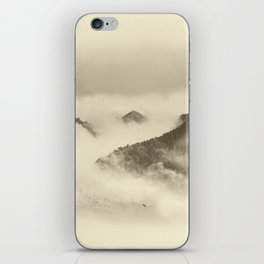 Mountain light BW. Foggy monochrome sunrise iPhone Skin