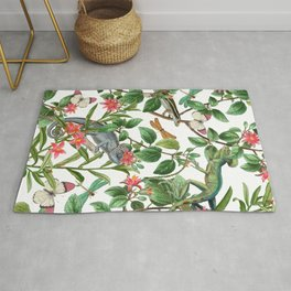 Vintage & Shabby Chic - Iguana And Insects Tropical Animals And Flowers Garden Rug