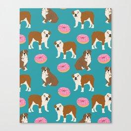 English Bulldog sprinkle pink donuts cute colorful children pets fur baby pet portrait bulldog gifts Canvas Print