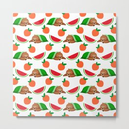Cute funny sweet adorable sleeping dreaming baby sloths under a blanket, little peaches and red ripe summer tropical watermelons cartoon fantasy white pattern design Metal Print