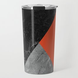 Black and White Marbles and Pantone Flame Color Travel Mug