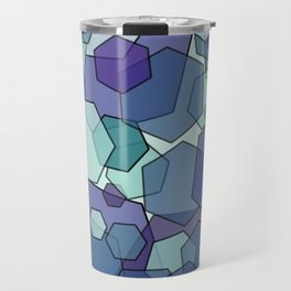 Converging Hexes - teal and purple Travel Mug