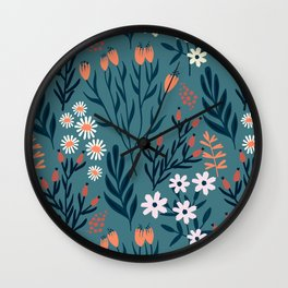 Beautiful Springtime Garden Daisy And Tulip Pattern Wall Clock