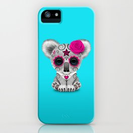 Pink and Blue Day of the Dead Sugar Skull Baby Koala Bear iPhone Case
