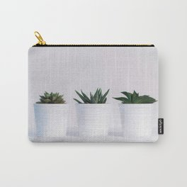 Minimalist White Potted Succulents Carry-All Pouch