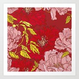Peonies on Red Art Print