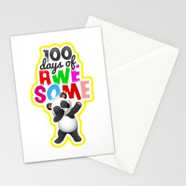 100 Days of School for Kindergarten Elementary Kids Light Stationery Cards