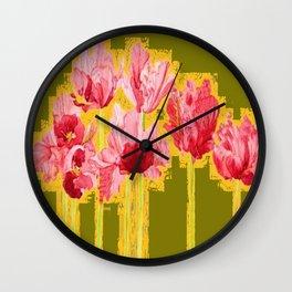 PINK-RED MODERN TULIP FLOWERS KHAKI GREEN ART Wall Clock