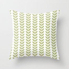 Scandinavian Mid Century Pattern Green Throw Pillow