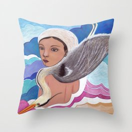woman with a heron . finkpink Throw Pillow