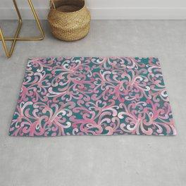 Pink on Green - Paisley Rug