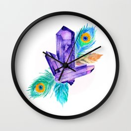 Crystals and Feathers - Amethyst Wall Clock