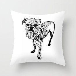 St Simeon Griffon Bruxellois black & white Throw Pillow
