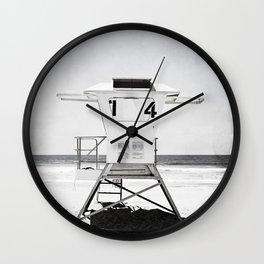 Black and White Beach Photography, Grey Lifeguard Stand, Gray Coastal Nautical Art Wall Clock
