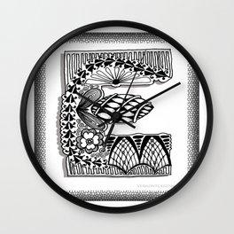 Zentangle E Monogram Alphabet Illustration Wall Clock