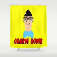 tina crespo Shower Curtains featuring Charm Bomb  |  Tina Belcher  by Silvio Ledbetter
