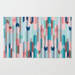 Blue & Pink Chevron Pattern Rug