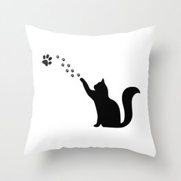 Cat paw, crazy cat lady gift Throw Pillow