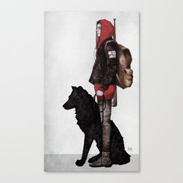 The boy and the wolf Canvas Print