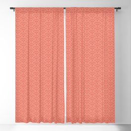 Pantone Living Coral Scallop Wave Pattern and Polka Dots Blackout Curtain