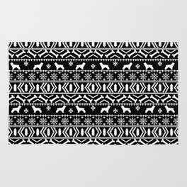 Cocker Spaniel fair isle christmas pattern dog breed holiday gifts black and white Rug