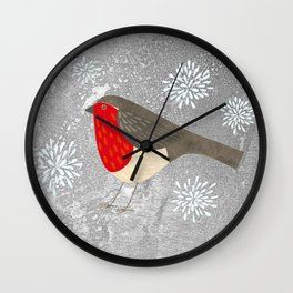 Robin and Snowflakes Wall Clock