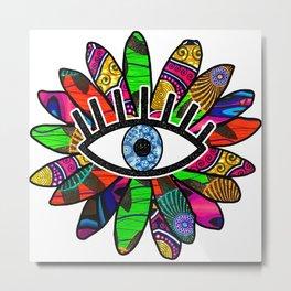Greek Evil Eye Bright Flower Metal Print
