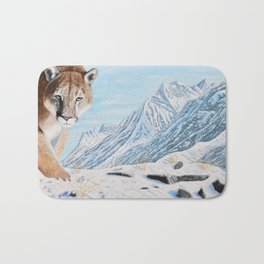 Mountain Lion in the Rockies Bath Mat