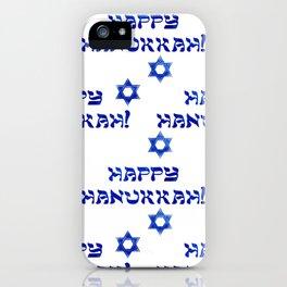 Happy Hanukkah Pattern With Star of David iPhone Case