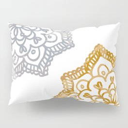 Gold and silver lace floral Pillow Sham