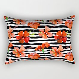 Hibiscus flower and stripes pattern Rectangular Pillow