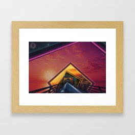 Bridge of a Thousand Colors, a Beautiful Rainbow Fractalscape Framed Art Print