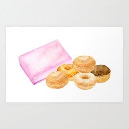 Watercolor donuts and gift box Art Print