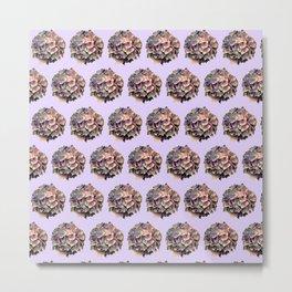 purple and pink hydrangeas on soft lilac Metal Print
