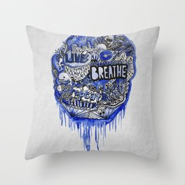Live, Breathe, Repeat Throw Pillow
