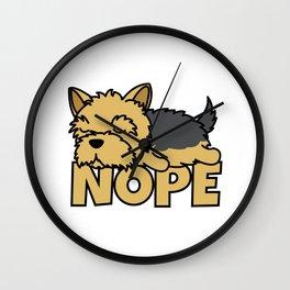 Nope Yorkie Yorkshire Terrier Wall Clock