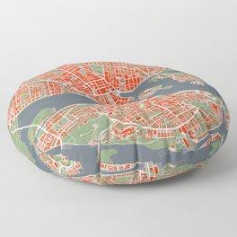 Stockholm city map classic Floor Pillow
