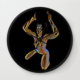 9925S-JPC Kneeling Art Nude Abstract Color Flow Graphic Striped Line Wall Clock