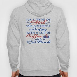 Girl with a cup of coffee and a book Hoody