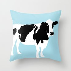 Cow on blue Throw Pillow