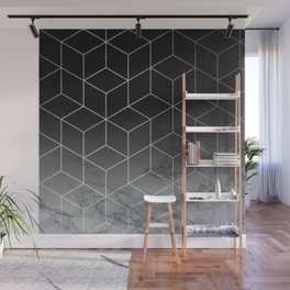 Silver Geometric Cubes Trendy White Grey Marble Wall Mural