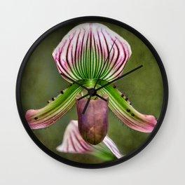 Ladys Slipper Orchid Wall Clock