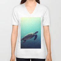 sea turtle V-neck T-shirts featuring Turtle by Rachel's Pet Portraits