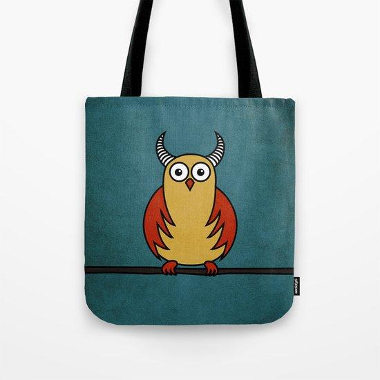 Funny Cartoon Horned Owl Tote Bag