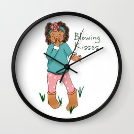 Little Girl Blowing Kisses to You Wall Clock