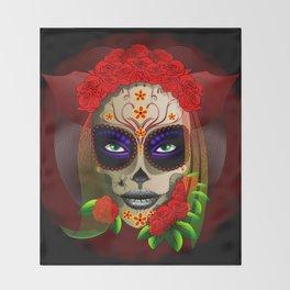 Skull Girl Dia de los Muertos Portrait Throw Blanket