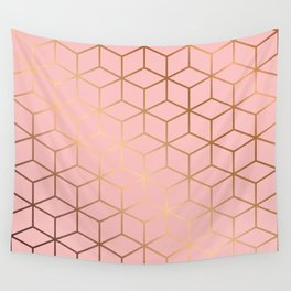 Pink and Gold Geometry 011 Wall Tapestry