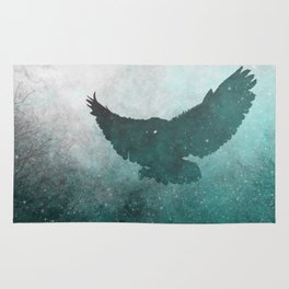 Owl Silhouette | Swooping Owl Ghost | Space Owl Rug