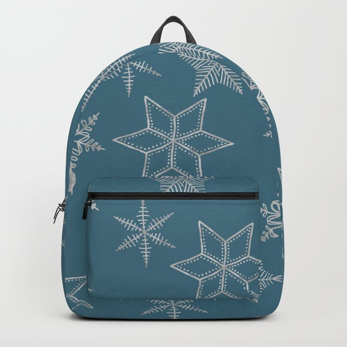 Silver Snowflakes On Teal Background Backpack